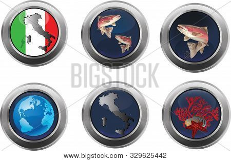Button With Reflections Inside Various Identifying Images