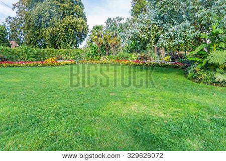 A Lawn And Graden At Point Defiacne Park In Tacoma, Washington.