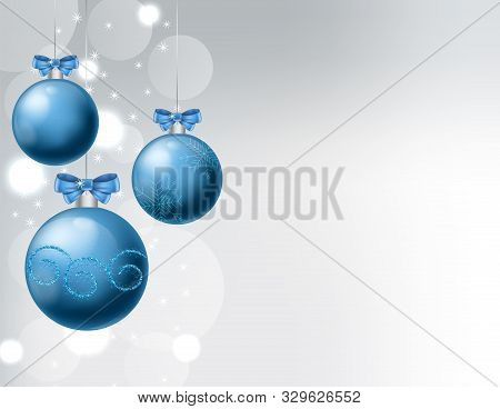 Blue Baubles With Ribbon And Christmas Ornaments Drawings. White Background With Bokeh. Christmas Ve