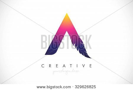 A Feather Letter Logo Icon Design With Feather Feather Creative Look Vector Illustration In Purple M