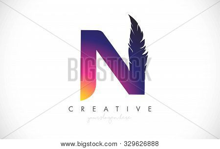 N Feather Letter Logo Icon Design With Feather Feather Creative Look Vector Illustration In Purple M
