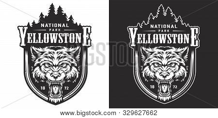 Vintage Yellowstone National Park Emblem With Angry Ferocious Wolf Head And Forest Landscape Isolate