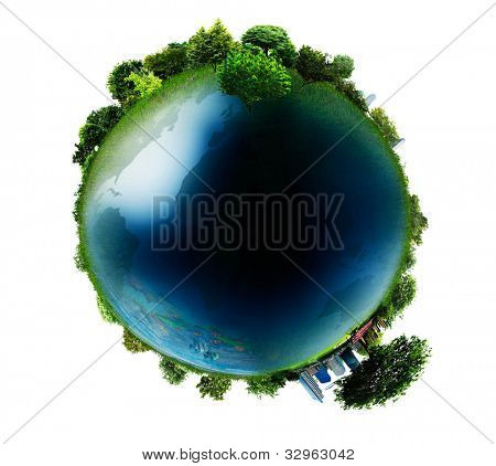 concept miniature globe showing the various modes of transport and life styles in the world  isolated on white background