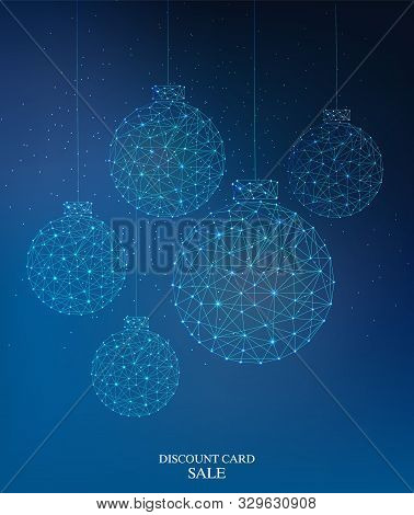 Cybernetic Style Christmas Baubles. Connected Dots. Discount Card Sale Text. Vector