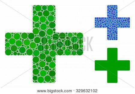 Plus Composition Of Round Dots In Various Sizes And Color Hues, Based On Plus Icon. Vector Round Dot