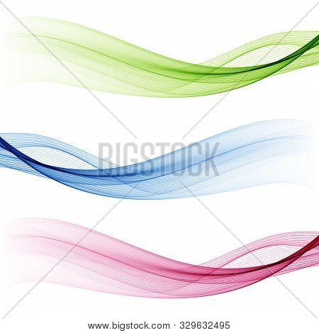 Vector Set Abstract Wave Pattern. Blue Wave. Green Wave. Red Wave. Transparent Wave Set. Color Wave.