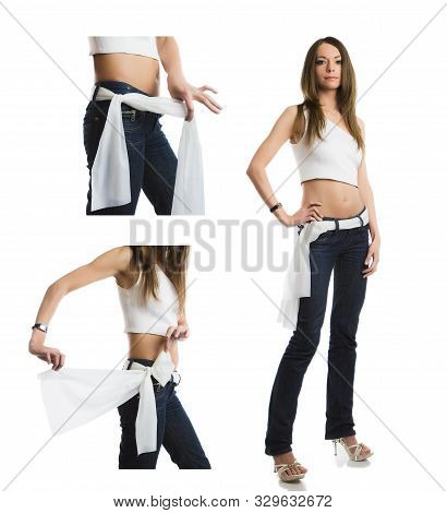 Happy Girl Demonstrates The Options For Using A Neckerchief As Belt. 3 In 1