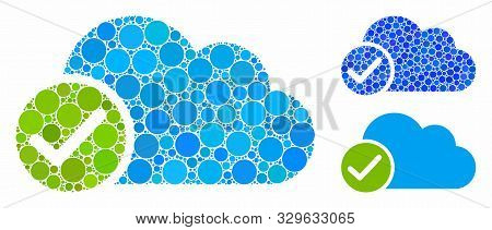 Valid Cloud Mosaic Of Small Circles In Variable Sizes And Shades, Based On Valid Cloud Icon. Vector