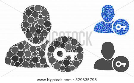 User Login Mosaic Of Round Dots In Variable Sizes And Color Hues, Based On User Login Icon. Vector R