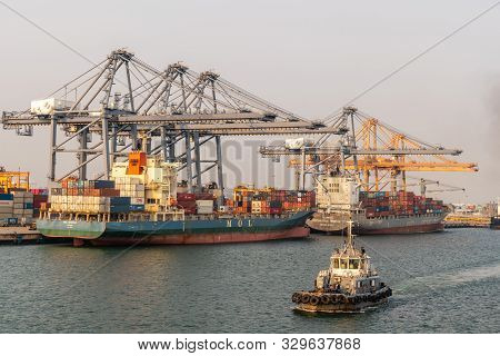 Laem Chabang Seaport, Thailand - March 17, 2019: Two Small Container Ships, Mol Sparkle, Panama Flag