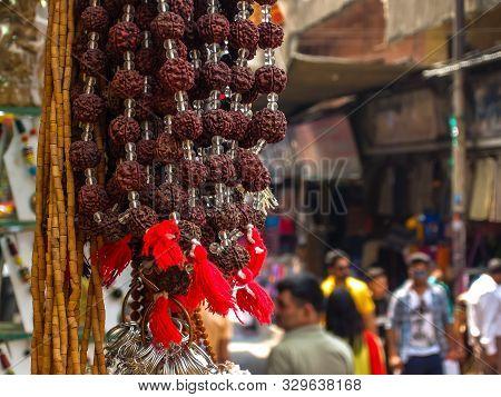 Rishikesh, India - Circa April 2018. Beads Of Rudraksh On Street Market In Rishikesh.