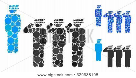 Army Squad Composition Of Round Dots In Various Sizes And Color Tinges, Based On Army Squad Icon. Ve
