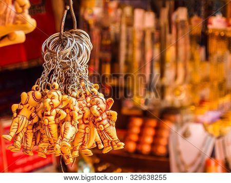 Rishikesh, India - Circa April 2018. Goods In Souvenir Shop On The Street Of Rishikesh.