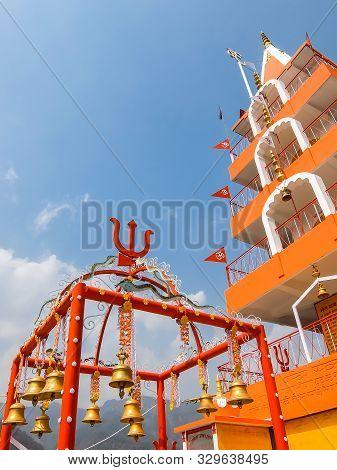 Rishikesh, India - Circa April 2018. Beautiful View Of Bhootnath Temple In Rishikesh.
