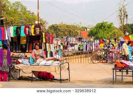 Rishikesh, India - Circa April 2018. Street Market In Rishikesh.