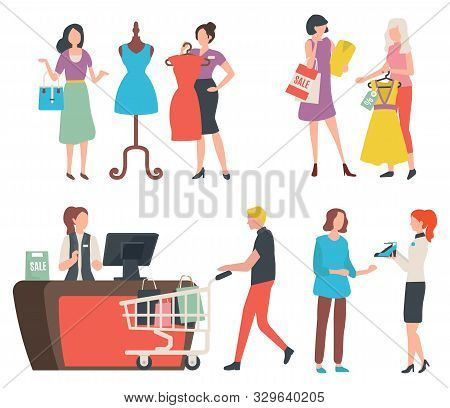 People Shopping, Isolated Cashier Counter And Client With Trolley And Purchases. Fashion Advisor And