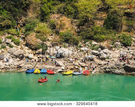 Rishikesh, India - Circa April 2018. Rafting On Ganga River In Rishikesh, Uttarkhand, India