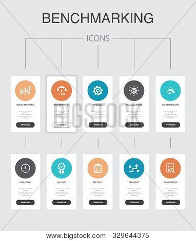 Benchmarking Infographic 10 Steps Ui Design.process, Management, Indicator Simple Icons
