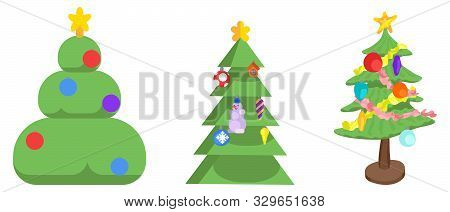Set Of Christmas Trees Festive Decor Different Styles