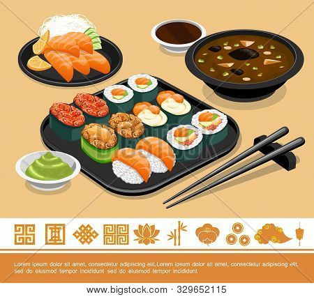 Flat Traditional Japanese Food Template With Sushi Sashimi Miso Soup Wasabi Soy Sauce And Chopsticks