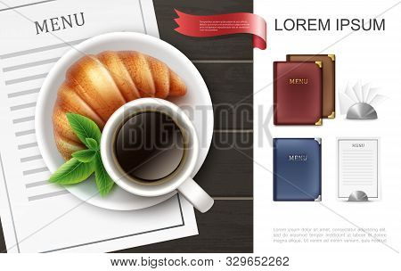 Realistic Colorful Menu Covers Concept With Coffee Cup Mint Leaves Croissant On Plate Menu Card And