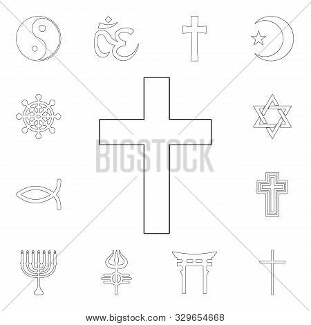 religion symbol, catholicism outline icon. element of religion symbol illustration. signs and symbols icon can be used for web, logo, mobile app, ui, ux poster