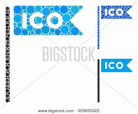 Ico Flag Composition Of Round Dots In Variable Sizes And Color Tones, Based On Ico Flag Icon. Vector