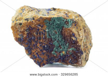 Rock With Azurite Mineral From Morocco Isolated On A Pure White Background