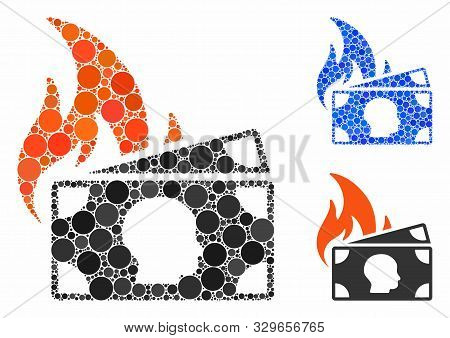Banknotes Fire Disaster Mosaic Of Filled Circles In Different Sizes And Shades, Based On Banknotes F