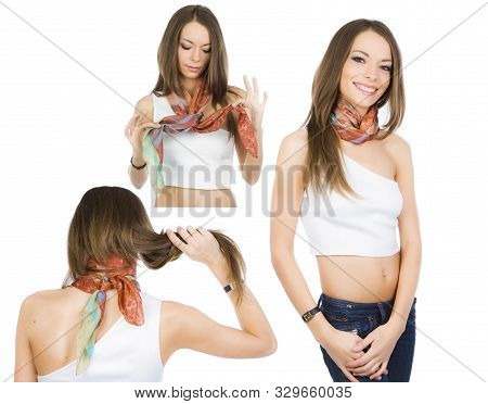 Happy Girl Demonstrates The Options For Using A Neckerchief. 3 In 1