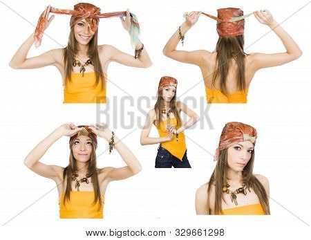 Happy Girl Demonstrates The Options For Using A Neckerchief Like A Headdress. 5 In 1