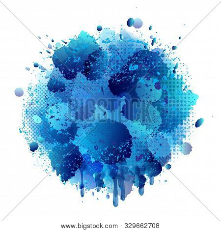 Blue Spray Paint With Abstract Splatter Color Background.