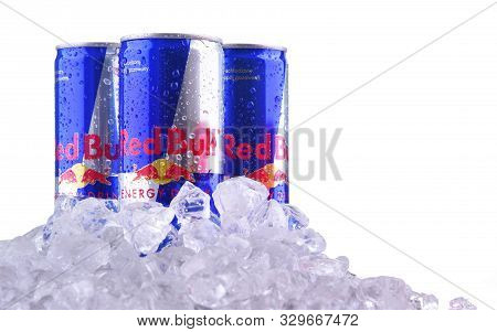 Poznan, Pol - Oct 23, 2019: Cans Of Red Bull, An Energy Drink Sold By Red Bull Gmbh, An Austrian Com