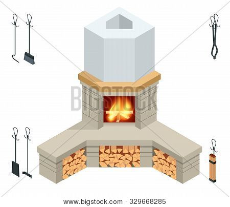 Isometric Fireplace Of Brick, Stone Isolated On White. Fireplace For The Relaxing Ambience, And For