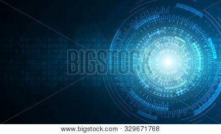 Blue Abstract Technology Cyberspace Vector Background,artificial Intelligence Technology Concept,fut