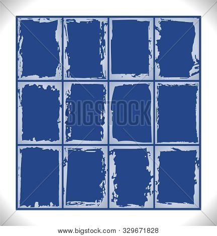 Set Of Frosty Pattern Frames. Gray Ice Frost Square Frame Template Set On Blue