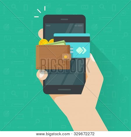Electronic Wallet On Cellphone Vector Icon, Flat Cartoon Mobile Phone Screen With Digital Money Wall