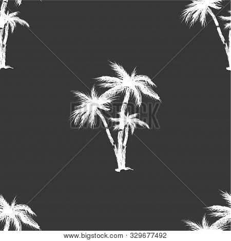 Hand Drawn Seamless Pattern. Simple Seamless Palm Tree Pattern. Perfect For Fabric, Wallpaper Or Gif