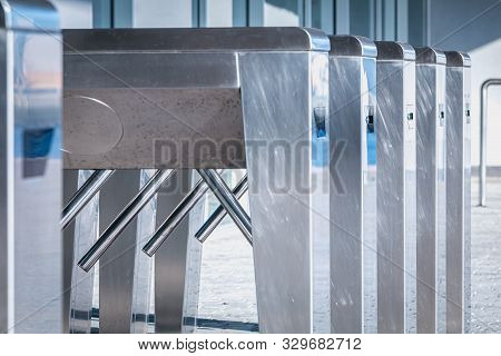 Turnstile. Checkpoint. Automatic Access Control. Access System To The Building