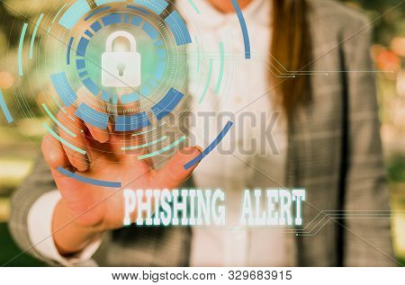 poster of Writing note showing Phishing Alert. Business photo showcasing aware to fraudulent attempt to obtain sensitive information Female human wear formal work suit presenting smart device.