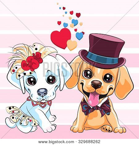 Lovers Cute Cartoon Labrador Retriever Dogs, Yellow Labrador Gentleman In A Hat And Bow Tie And Whit