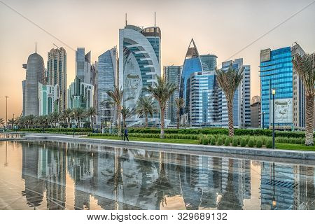 Doha, Qatar-march 15,2018: Doha, Qatar Skyline Daylight View From Sheraton Park With Reflection In T