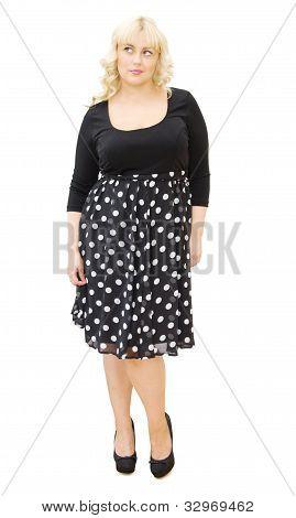 Beautiful Blonde Woman In Polka Dots Dress