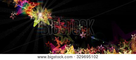 Fantastic Christmas Panorama Design Illustration With Glowing Stars