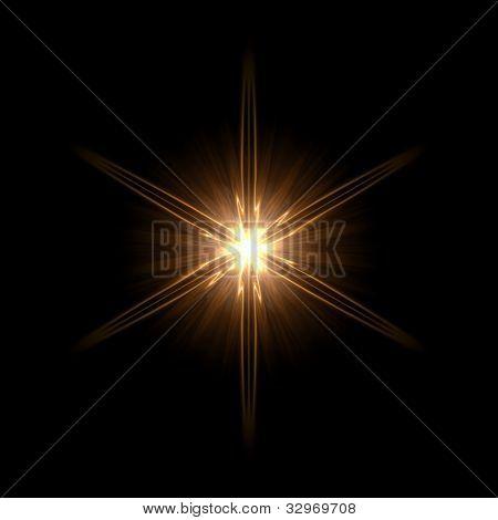 abstract lens flare light hexagram over dark background poster