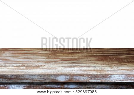 Empty Wooden Table Top, Desk Isolated On White Background, Vintage Wood Table Surface For Product Di