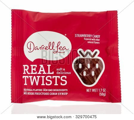 Winneconne, Wi - 10 October 2019: A Package Of Darrell Lea Real Twists Candy On An Isolated Backgrou