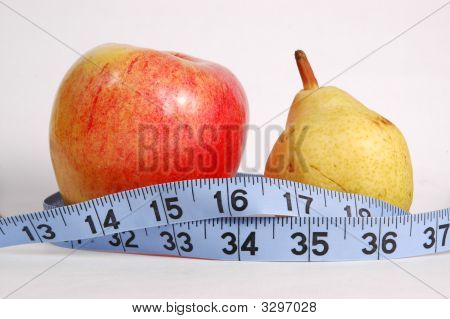 Apple And Pear With Blue Tape Measure