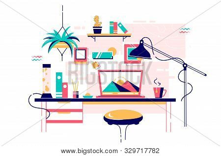 Homely Stylish Home Office Workplace Of Modern Device. Isolated Concept Comfortable Freelance Workpl
