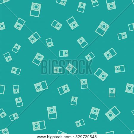 Green Music Player Icon Isolated Seamless Pattern On Green Background. Portable Music Device. Vector